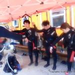 青空の中、シュノーケリングと体験ダイビングへ!!